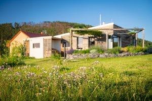 Zdravý dům obklopuje přírodní zahrada, kterou majitelé mozaikově sekají, aby se vždy našel kousek přírody pro hmyz. V zahradě najdeme i kořenovou čistírnu a pod zemí jímku na vodu.